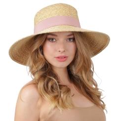 Соломенная летняя шляпа бежевого цвета с розовой лентой от Fabretti, арт. G60-1 beige