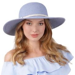 Светло-голубая соломенная женская шляпа с плетенным ремешком от Fabretti, арт. G64-14 l.blue