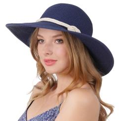Летняя соломенная женская шляпа синего цвета с широкими полями от Fabretti, арт. G64-5 blue