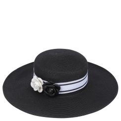 Соломенная женская шляпа черного цвета с контрастной отделкой от Fabretti, арт. G65-2 black
