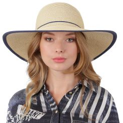 Летняя шляпа Fabretti G78-3/5 beige/blue
