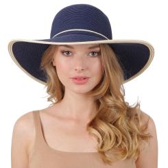 Пляжная летняя соломенная шляпа синего цвета с отделкой на тулье от Fabretti, арт. G78-5/3 blue/beige