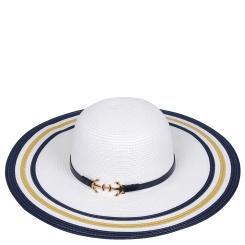 Летняя женская соломенная шляпа белого цвета с яркой отделкой от Fabretti, арт. GL33-4/14 white/l.blue