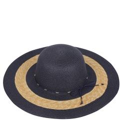 Широкополая женская летняя соломенная шляпа синего цвета с бежевой отделкой от Fabretti, арт. GL74-5/1 blue/beige