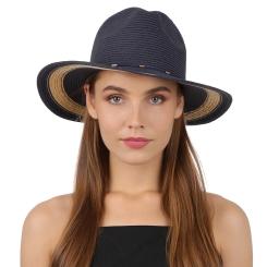 Модная женская соломенная шляпа синего цвета с бежевой вставкой  от Fabretti, арт. GL75-5/1 blue/beige