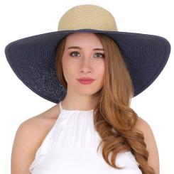 Широкополая женская соломенная шляпа бежево-синего цвета от Fabretti, арт. K5-5/1 blue/beige