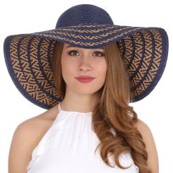 Эффектная женская летняя шляпа синего цвета с красивым орнаментом от Fabretti, арт. K7-5/1 blue/beige