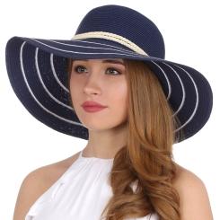 Летняя женская соломенная шляпа синего цвета с широкими полями от Fabretti, арт. G28-5/4 BLUE/WHITE