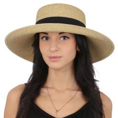Пляжная летняя женская шляпа бежевого цвета, украшенная лентой от Fabretti, арт. G48-1 beige