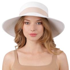 Аккуратная женская летняя шляпа белого цвета с розовой лентой от Fabretti, арт. G48-4 white
