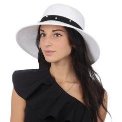 Утонченная женская соломенная шляпа белого цвета с красивой отделкой от Fabretti, арт. G51-4 white
