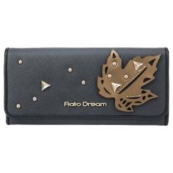 Красивый женский кошелек серого цвета, модель с узором на клапане от Fiato Dream, арт. п120-d178473