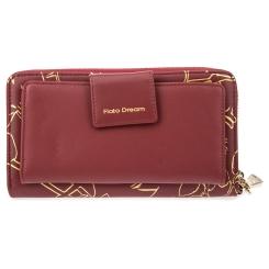 Стильный женский кожаный кошелек бордового цвета, украшенный принтом от Fiato Dream, арт. п123-d178476