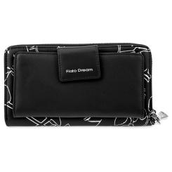 Модный женский кожаный кошелек черного цвета с ремешком для запястья от Fiato Dream, арт. п123