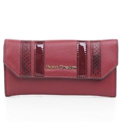 Бордовый женский кожаный кошелек с тонкими лакированными полосками от Fiato Dream, арт. п323-d131270