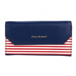 Синий женский кошелек с белой вставкой в красную тонкую полоску от Fiato Dream, арт. п335