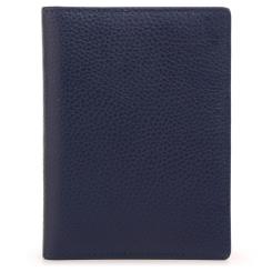 Обложка для паспорта, выполненная из синей натуральной кожи с желтой вставкой внутри от Fiato Dream, арт. п41