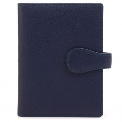 Синяя кожаная обложка для автодокументов с узким клапаном и кнопкой от Fiato Dream, арт. п532