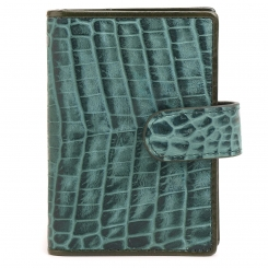 Зеленая визитница на кнопке, тисненная под рептилию от Fiato Dream, арт. п54-d93466