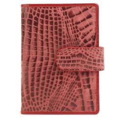 Бордовая кожаная визитница из натуральной кожи с тиснением от Fiato Dream, арт. п54