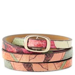Стильный браслет из натуральной кожи с нежным рисунком в розово-бежевых тонах от Fiato Dream, арт. р97