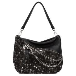 Элегантная женская кожаная сумка черного цвета с роскошной вставкой от Fiato Dream, арт. 1005-d178691