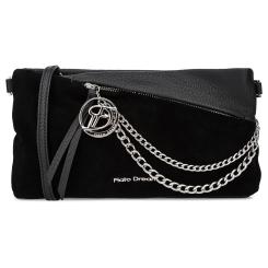 Красивая женская сумка через плечо черного цвета из натуральной кожи с замшей от Fiato Dream, арт. 1006-d178693