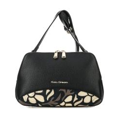 Женская сумка на плечо из черной натуральной кожи, украшенная рисунком от Fiato Dream, арт. 1012