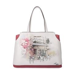 Практичная женская сумка из плотной натуральной кожи с красивым принтом от Fiato Dream, арт. 1021