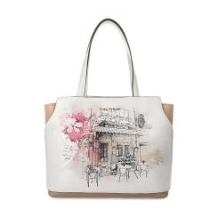 Женская сумка из белой натуральной кожи с эффектным рисунком от Fiato Dream, арт. 1022-d171362
