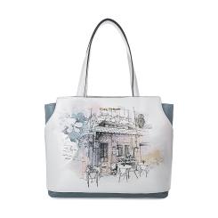 Серая с белым женская сумка из натуральной кожи с эффектным рисунком от Fiato Dream, арт. 1022