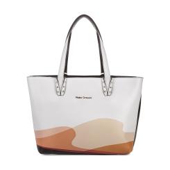 Белая женская сумка из натуральной кожи с отделкой черного цвета от Fiato Dream, арт. 1027