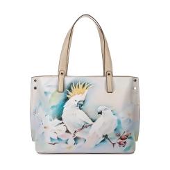 Бежево-белая женская кожаная сумка с изображением тропических птиц от Fiato Dream, арт. 1029-d171393