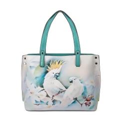 Стильная женская сумка из натуральной кожи бирюзового и белого цвета от Fiato Dream, арт. 1029