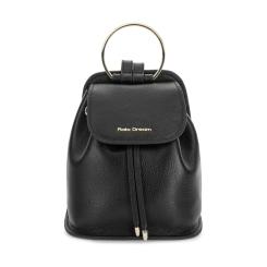 Роскошный городской женский рюкзак из черной натуральной кожи от Fiato Dream, арт. 1037