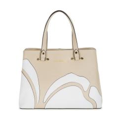 Бежевая женская кожаная сумка с оригинальной белой аппликацией от Fiato Dream, арт. 1120-d171410