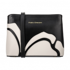 Черная женская сумка из натуральной кожи с белой цветочной аппликацией от Fiato Dream, арт. 1122-d171414