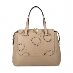 Бежевая женская кожаная сумка с роскошной вставкой с узором от Fiato Dream, арт. 1123-d172371