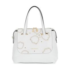 Белая женская кожаная сумка с роскошной прошивкой-рисунком от Fiato Dream, арт. 1123-d172372