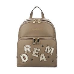 Темно-бежевый женский кожаный рюкзак с эффектной аппликацией от Fiato Dream, арт. 1132
