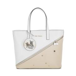Практичная женская сумка из белой и бежевой натуральной кожи с принтом от Fiato Dream, арт. 1141
