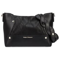 Роскошная женская сумка черного цвета с тиснением под кожу змеи от Fiato Dream, арт. 1201