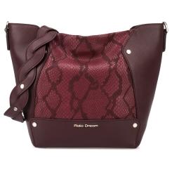Модная бордовая женская сумка мешок с тиснением под кожу змеи от Fiato Dream, арт. 1202-d178680