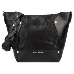 Стильная женская сумка-мешок черного цвета из натуральной кожи от Fiato Dream, арт. 1202