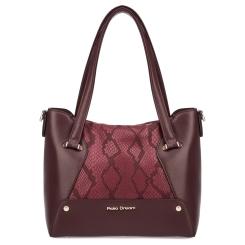 Красивая женская кожаная сумка бордового цвета с тиснением под змею от Fiato Dream, арт. 1203-d178682
