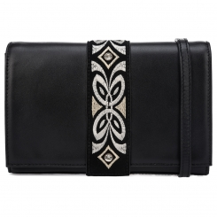 Аккуратная женская кожаная сумка черного цвета с узким клапаном из замши от Fiato Dream, арт. 1207-d178695