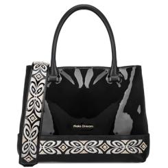 Стильная женская сумка черного цвета из лаковой натуральной кожи с узором от Fiato Dream, арт. 1209-d178748