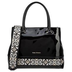 Женская сумка черного цвета, выполнена из натуральной кожи с лаковым покрытием от Fiato Dream, арт. 1209