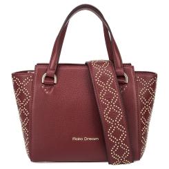 Бордовая женская сумка из натуральной кожи с узором из заклепок от Fiato Dream, арт. 1211-d178704