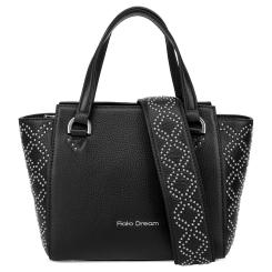 Практичная женская кожаная сумка черного цвета, декорированная заклепками от Fiato Dream, арт. 1211-d178751